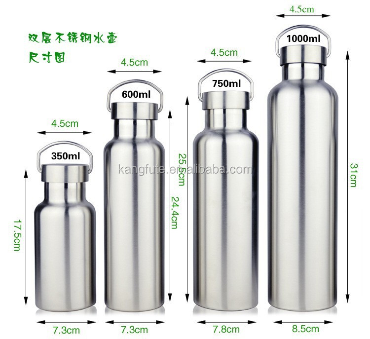 yongkang factory provide stainless steel vacuum flask water bottle with Stianless steel lid,handle,wide mouth 1 L