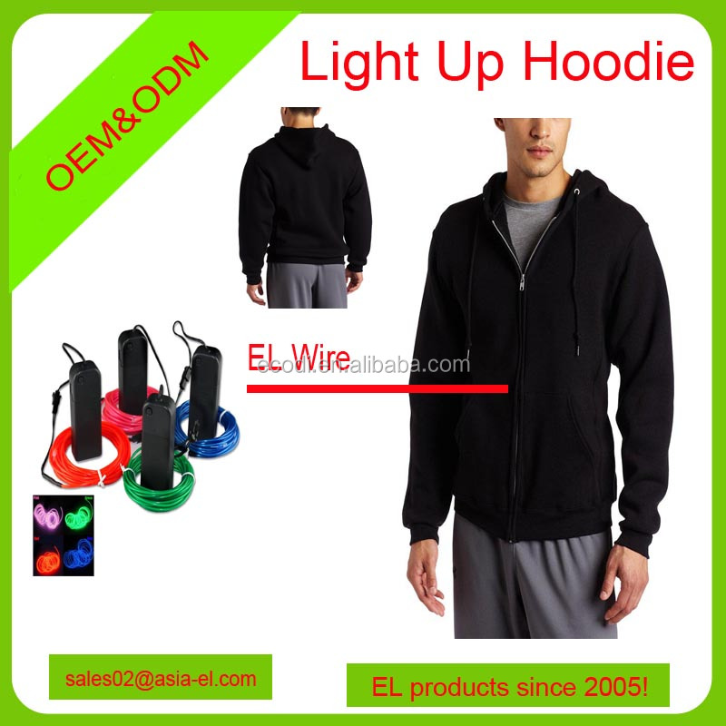 Haute qualité LED rougeoyante hoodies/el fil costumes/LED sweat léger avec batterie