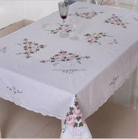 Household Custom Simple White Cotton Computer Embroidery Table Cloth