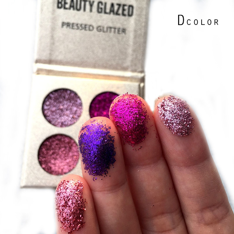 Wholesale in stock beauty glazed brand 4 colors glitter shimmer Sequin eyeshadow palette metallic eyes makeup private label фото