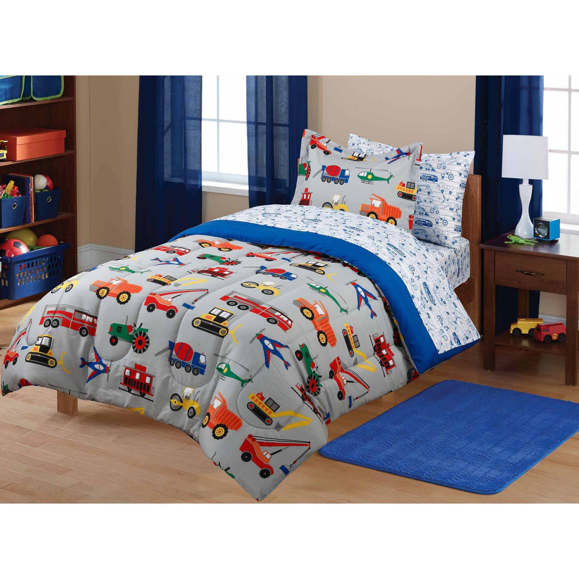 Get Quotations 7 Piece Boys Multi Color Twin Transportation Themed Comforter Set With Sheets Planes Tractors Cars