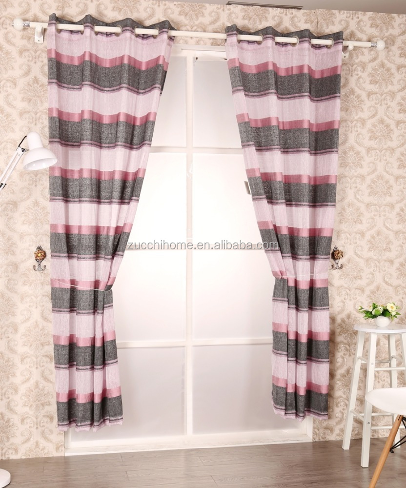 elegant strip new design sheer curtain panel woven with silver metallic yarn