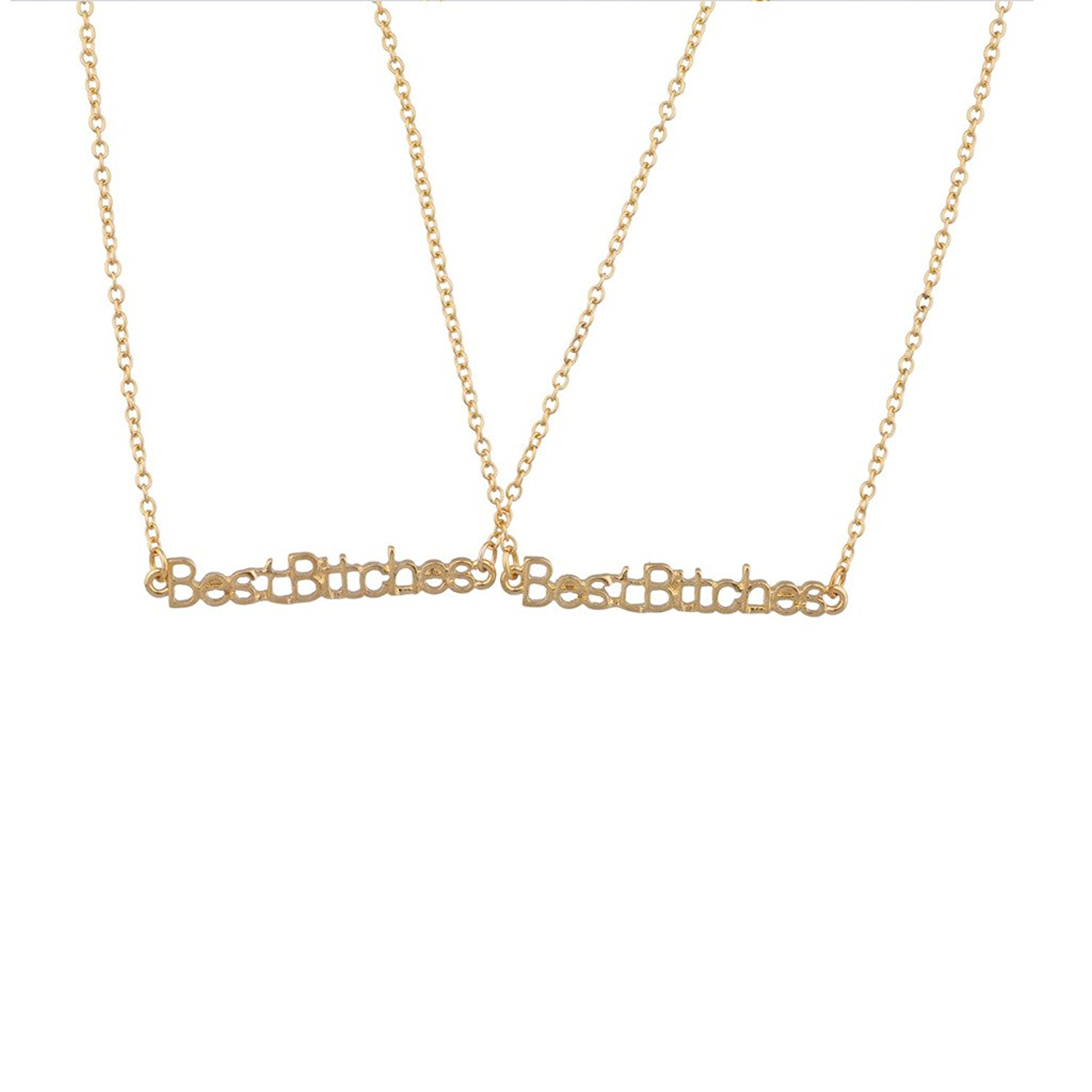 Lux Accessories Best Bitches BFF Best Friends Forever Word Matching Necklaces