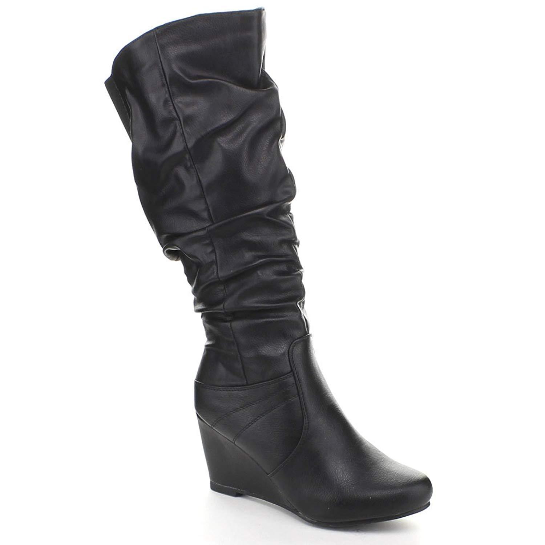 63ef86ae9894 Blossom Miri-4 Women's Round Toe Side Zipper Knee High Wedge Riding Boot