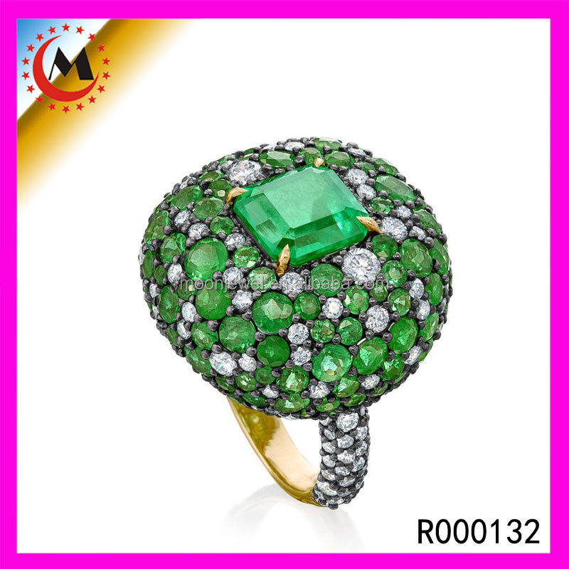 Fashion alloy ring, frog ring jewelry,emrald stone ring