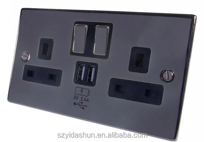 China Manufacturer 5V/4.8A Hot sales UK Socket UK type double 3 pin wall sockets electrical usb outlets