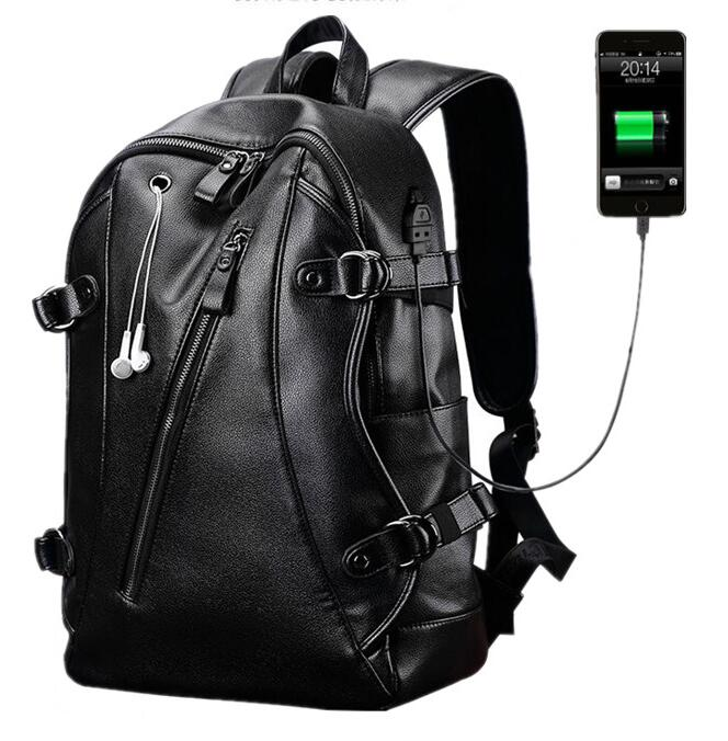 2018 new style big capacity popular PU leather <strong>backpack</strong> fashion student's school travel <strong>backpack</strong> with earphone hole