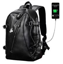 Dropshipping big capacity popular PU man leather backpack fashion travel backpack with earphone hole