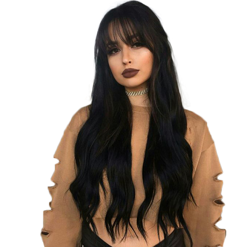 Alibaba.com / Brazilian Remy Hair Glueless Full Lace Wigs With Bangs Silky Straight Full Lace Human Hair Wigs Baby Hair Pre-Plucked