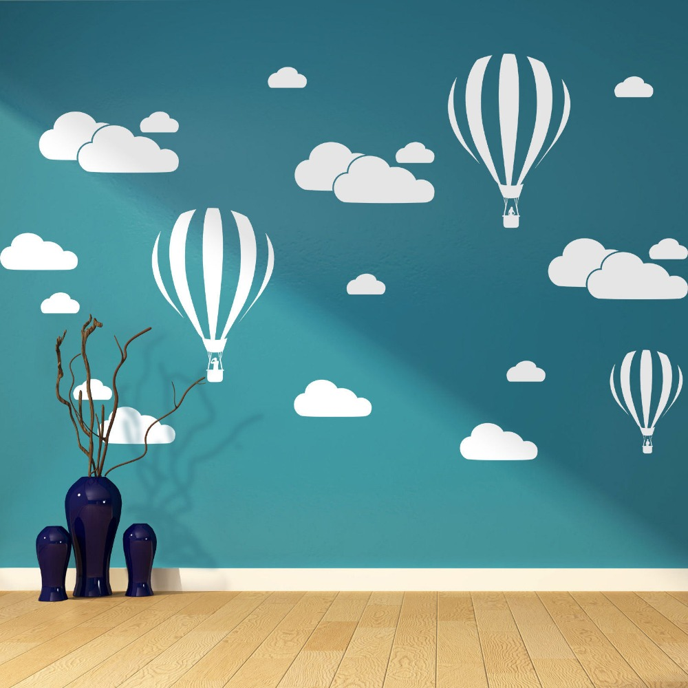 Big Size Clouds Amp Hot Air Balloons Nursery Kids Childs