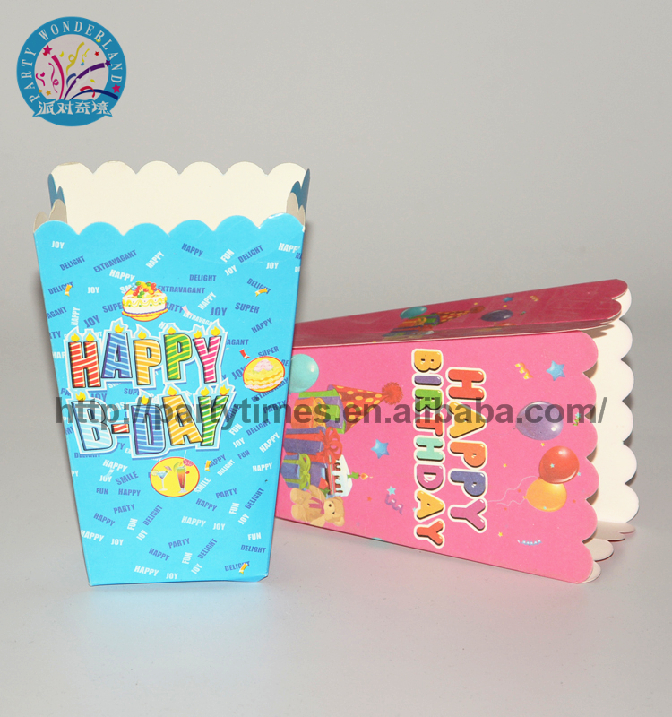 Hot selling New Product Blue Disposable Baby Shower Party Decoration Popcorn Box