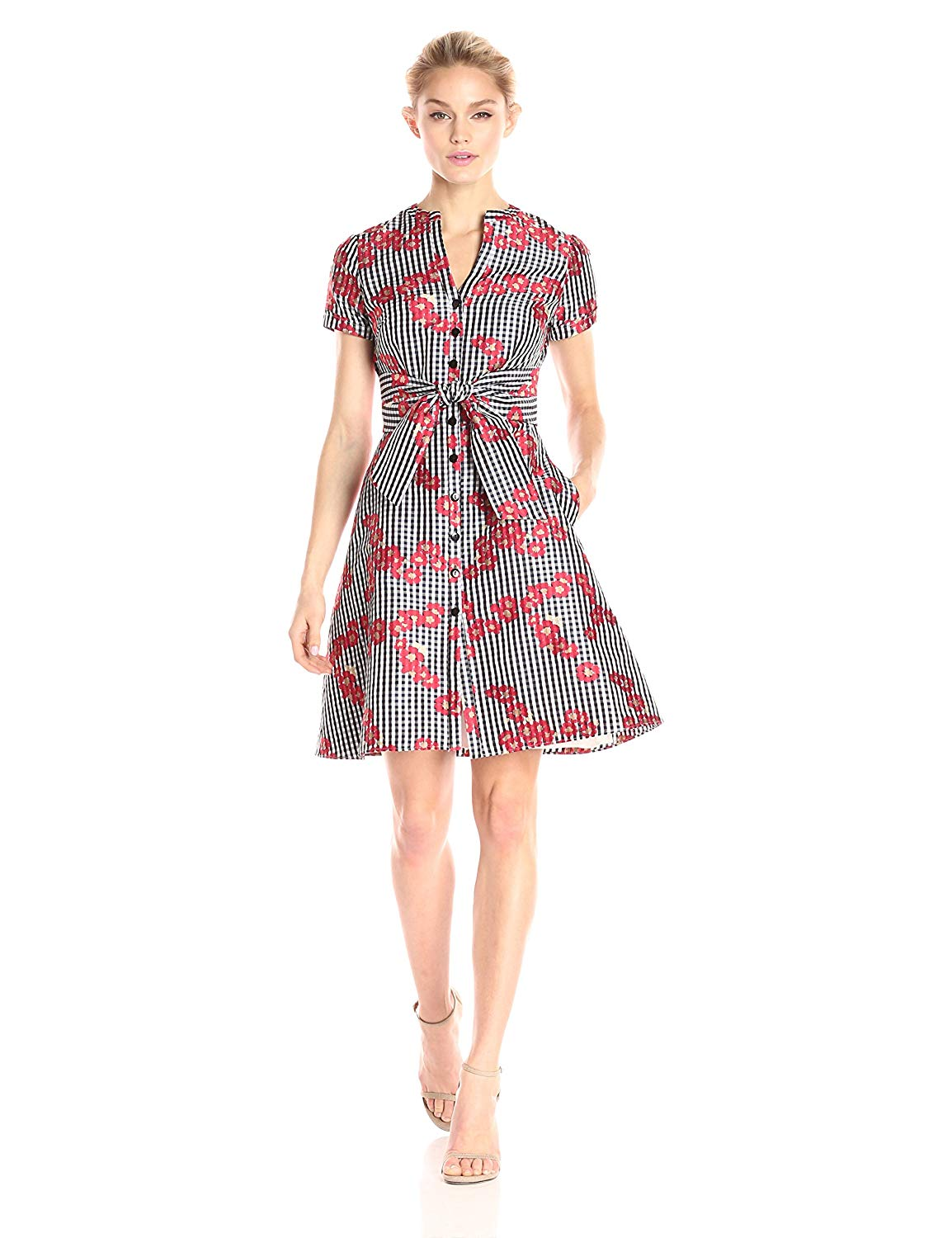743b23087f3 Adrianna Papell Women s Gingham and Floral Flared Embroidered Shirt Dress
