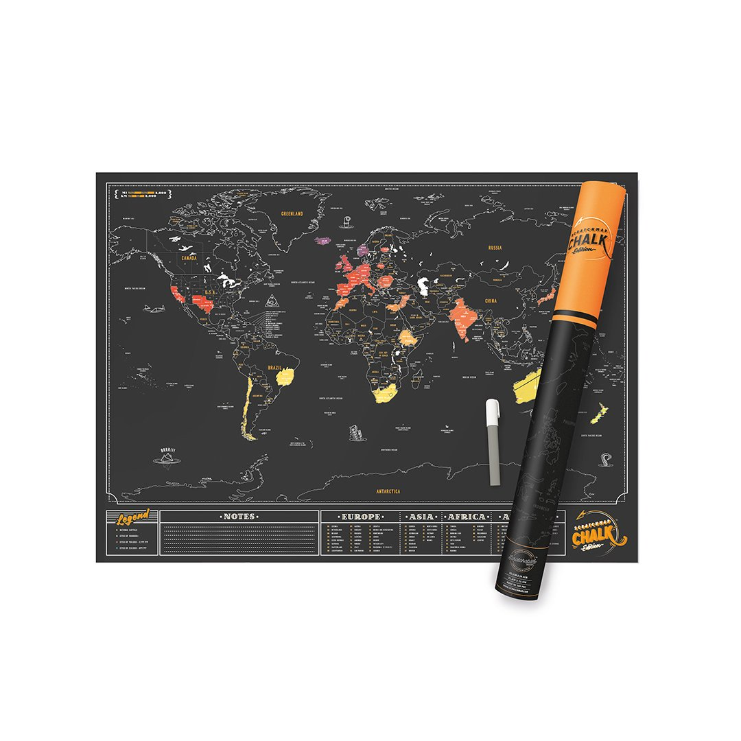 Scratch MAP Chalk Edition World Map Poster Chalk Pen Included! Track Your Adventures with Perfect Travel Gift (23.4x32.5in) Scratch Off Map Sold by LUCKIES - Inventors of The Scratch MAP Concept