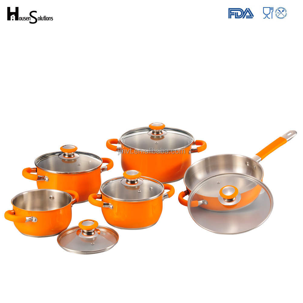 Belly Shape Rolled Edge Authentic Kitchen 18 10 Stainless Steel 10 pcs Cookware set