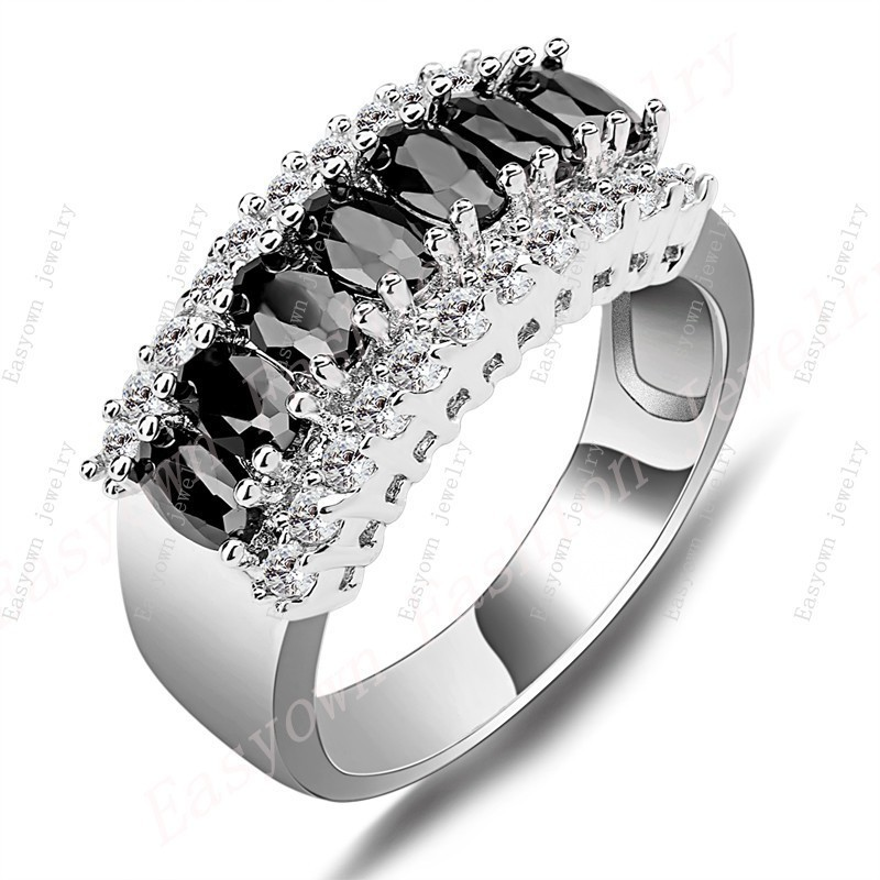 10ps/lot Size 6/7/8/9/10 Women Men Finger Rings Black Zircon 10KT White Gold Filled Fashion Jewelry Ring Best Selling RW0150
