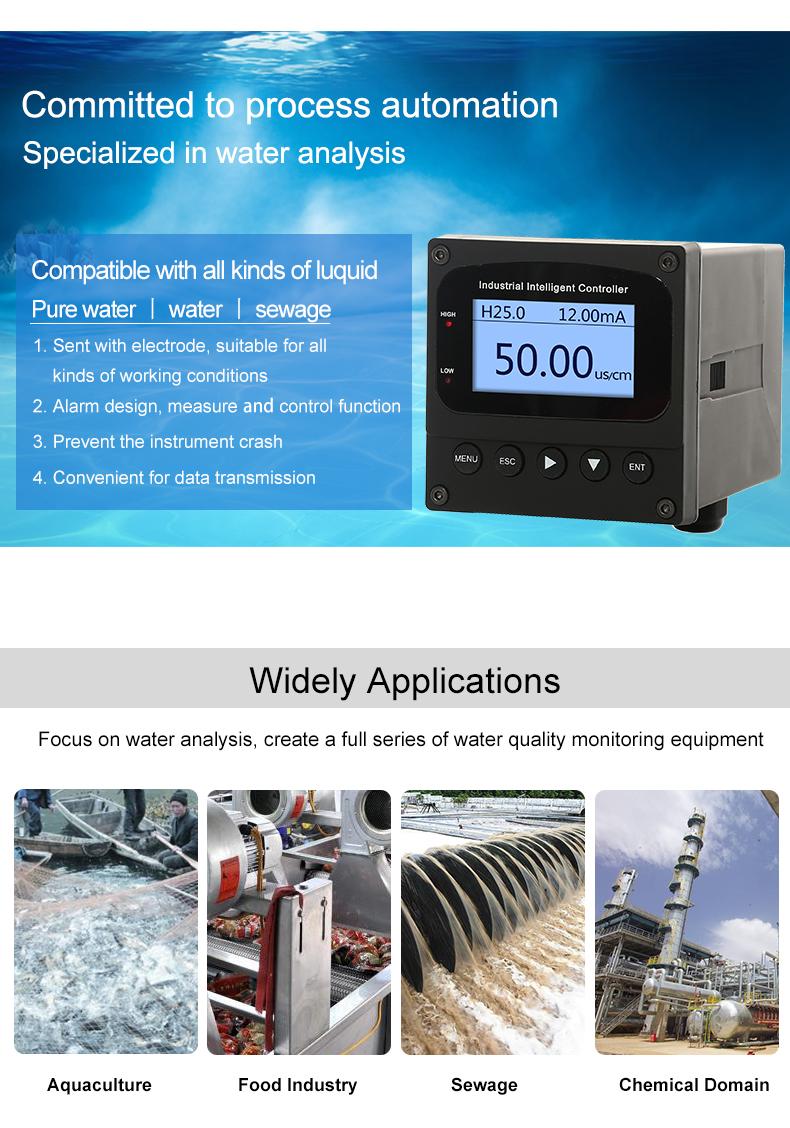 High quality ph conductivity meter controller metal sensor 4 20ma