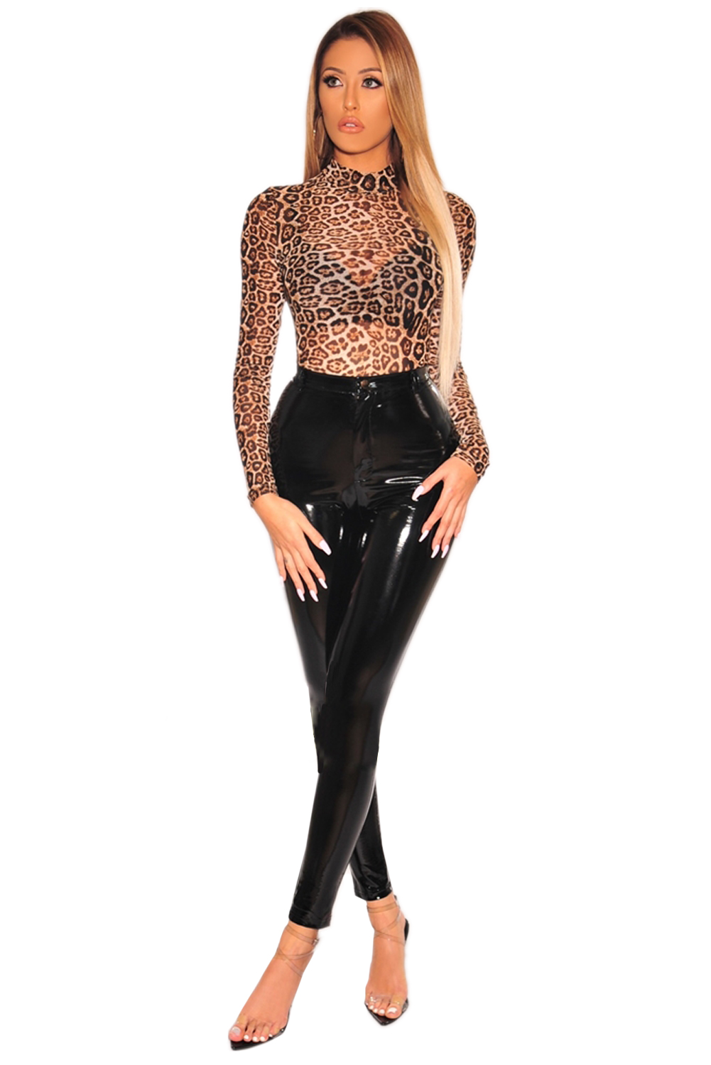 Wholesale FashionSexy Leopard Print Sheer Mesh Long Sleeves Bodysuit