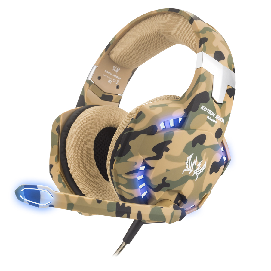 d68901ed8c0 Kotion Each G2000 Desert Camouflage Wired PU USB PC PS4 Color LED Gaming  Headphone Headset for Sale with Mic Microphone