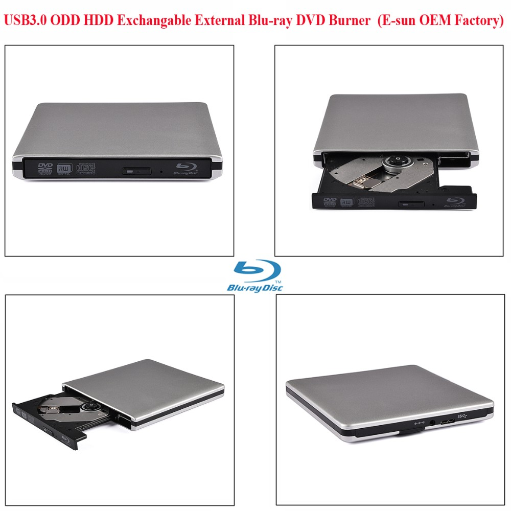 E-sun Brand New portable blu ray player 12.7mm USB 3.0 DVD players External bluray Writer