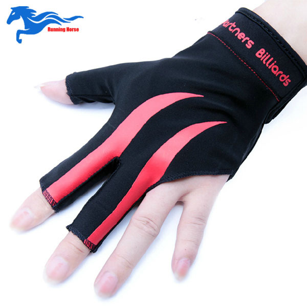 2015 High Quality Black Pool Cue Glove for Snooker Billiards Accessories Three Finger Style Black