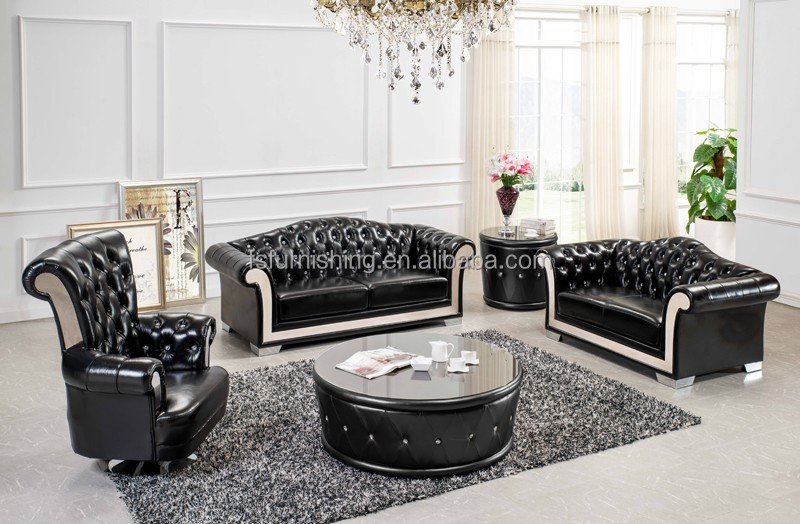 #LS165 contemporary powerful black leather chesterfield sofa stainless steel round center table living room sofa 2015 new