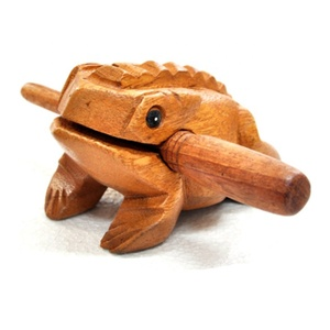 Wooden Carved Handicrafts Sound Toad Croaking Lucky Frog