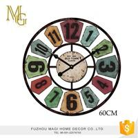 Colorful round wall decoration arabic numerals vintage quartz large metal wall clock