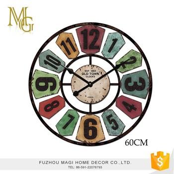 Colorful Round Wall Decoration Arabic Numerals Vintage Quartz