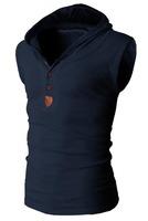 slim fit cotton wholesale sleeveless hoodie stringer vest no zipper fashion jacket ski