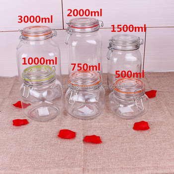 500ml Bee Clear Glass Jar Storage Canister Glass with Clip Top