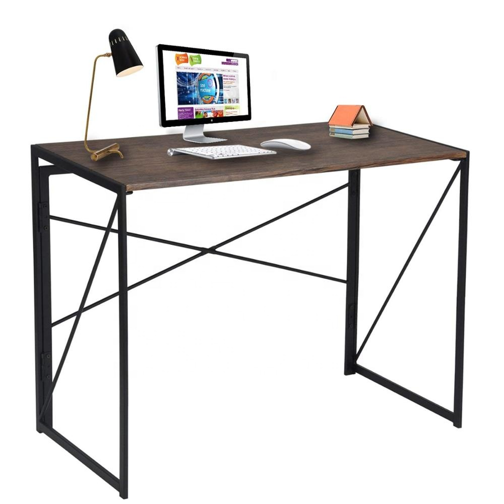 Modern Simple Study Desk Industrial Style Folding <strong>Laptop</strong> <strong>Table</strong> for Home Office Writing Computer Desk