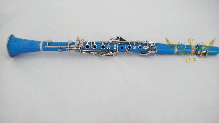 Roffee Musical instruments 17 keys Light Blue ABS Nickel Plated Bb clarinet