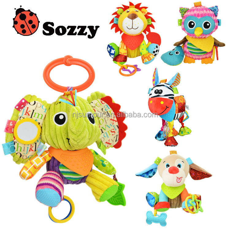 cartoon stuffed animal baby shaking toy with clip Baby Infant Kid Rattles Biting Teething Teether Toys