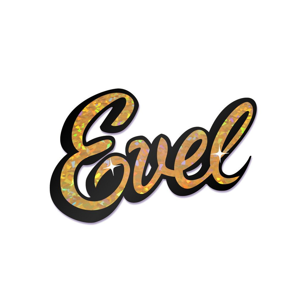 The coop evel knievel holographic evel bumper sticker