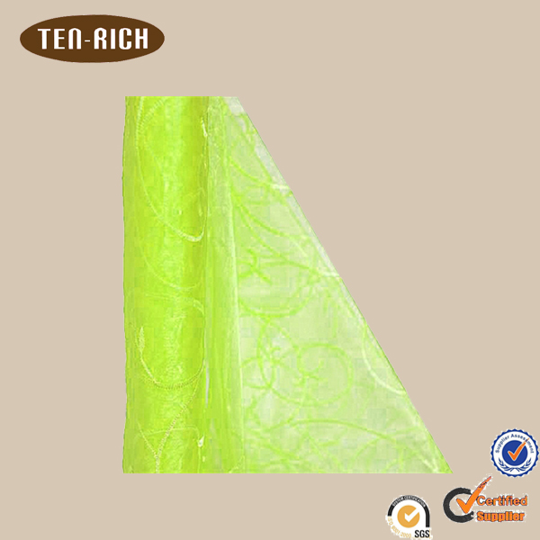 hot sale apple green embroidered silk organza fabric