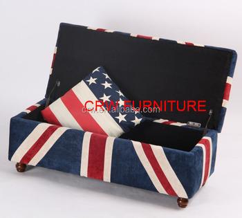 SF 1511 Union Jack Fabric Storage Ottoman