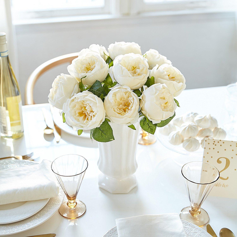 Butterfly Craze Artificial Peony Silk Flower Bouquet for Wedding Floral Arrangements and Home Decoration - Cream Color, 5 Stem Per Set
