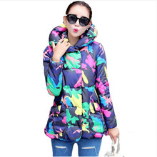 2016 New Plus size font b Winter b font Print Jacket Women Slim Letters Printed Hooded