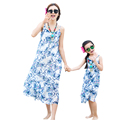 Bohemian Family Clothing Summer Mother Daughter Dresses Clothes Blue Floral Sleeveless Straped Long Beach Travel Outfit