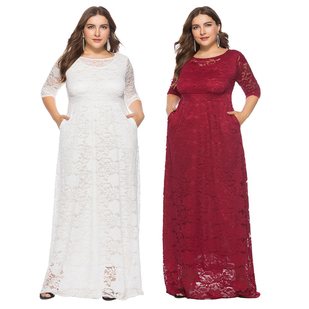 Fashion Autumn Sexy Lace Casual Plus Size Ladies Dress фото