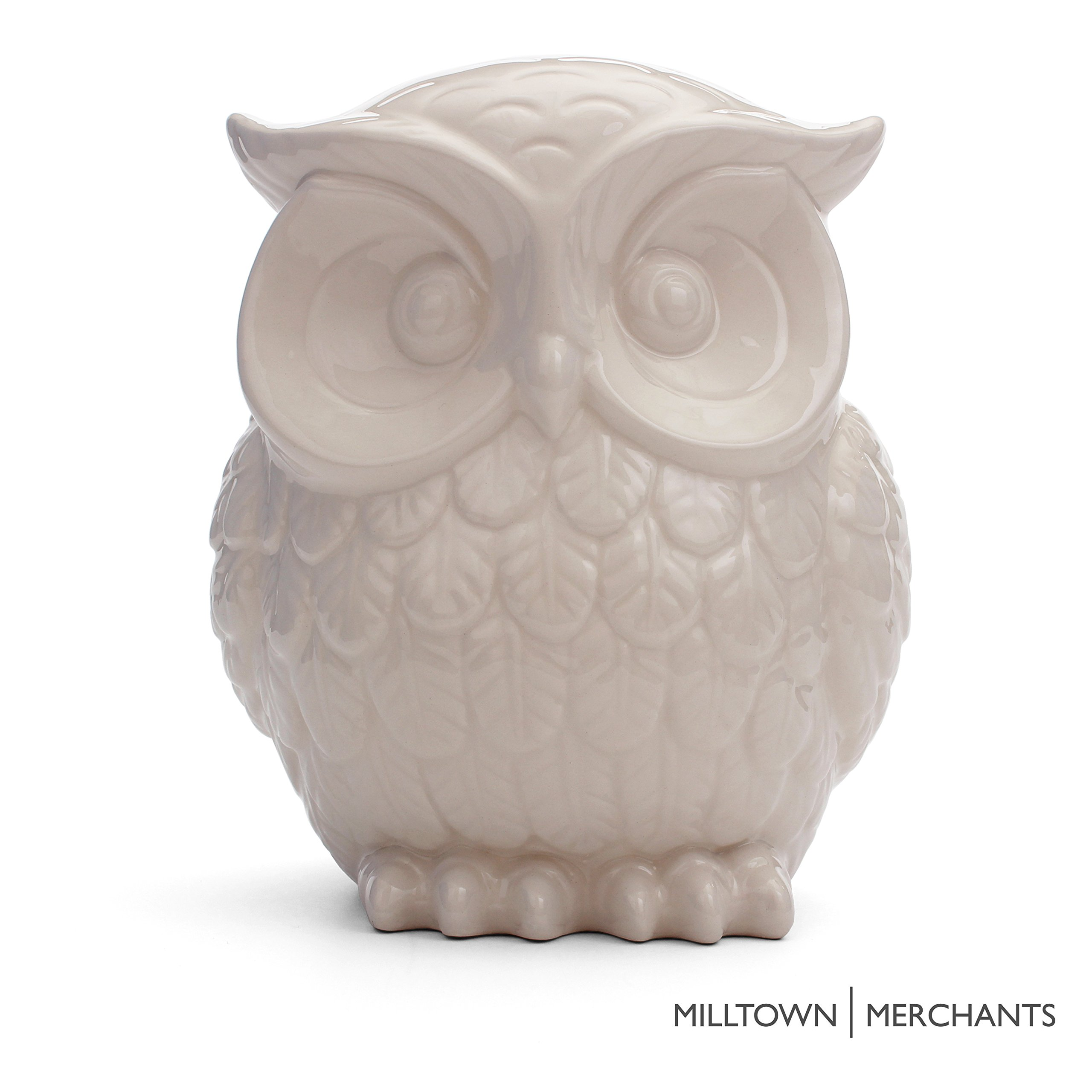 Milltown Merchants Trade Owl Figurine Ceramic Decor White