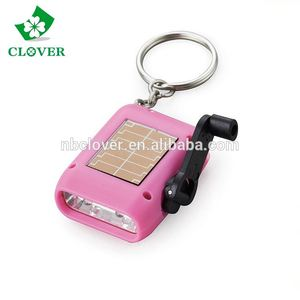 2 LED hand crank led torch portable plastic dynamo torch mini solar torch