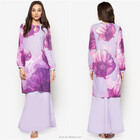 2017 Latest fashion print muslim dress modern cotton baju kurung malaysia islamic clothing