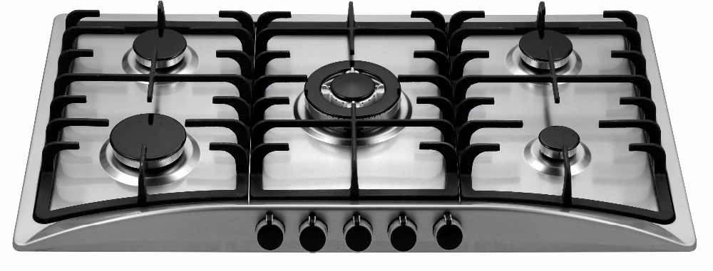 Cast iron 5 burners 304 stainless steel built in type gas hob