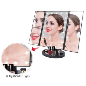 2018 Trending Products Trifold Mirror Makeup LED Light Travel Compact Vanity Mirror for Cosmetic Makeup