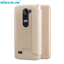 """For LG Leon H324 H340N H320 4.5"""" inch Leather Case Original NILLKIN Ultra-thin Quality Hard PC Back Cover Shell Flip Phone Case"""