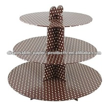 Brown Polka Dots 3 TIER CUP CAKE FAIRY MUFFIN CUPCAKE PARTY DECORATING STAND