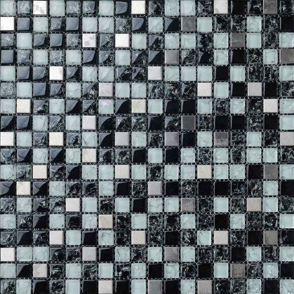 Baldosas para ba o y cocina blanco y negro de cristal del - Cocinas con mosaico ...