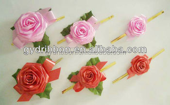 Popular Rose Artificial Plastic Ribbon Flowers Bow For Valentines