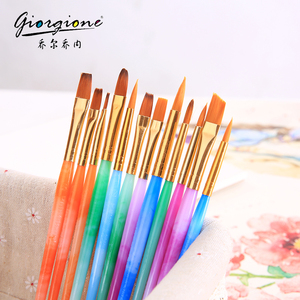 Synthetic Hair Paintbrushes Set With Plastic Handle Round and Flat and Angular Tip For Acrylic Oil Fabric and Watercolor Paint